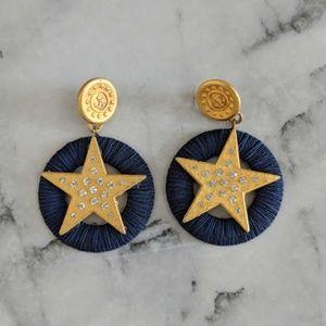 vintage 90's oversized gold star dangle earrings